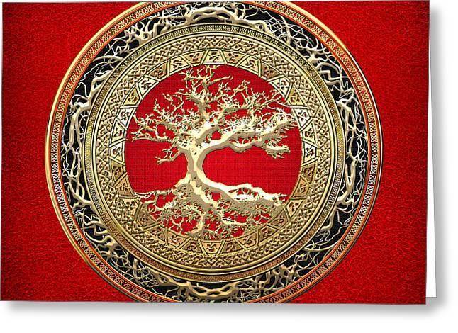 Yggdrasil Greeting Cards - Golden Celtic Tree of Life  Greeting Card by Serge Averbukh