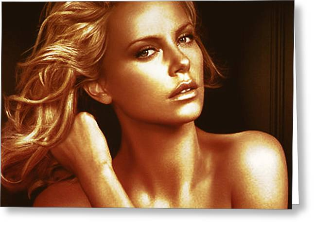 Golden Charlize Greeting Card by Florentina Maria Popescu