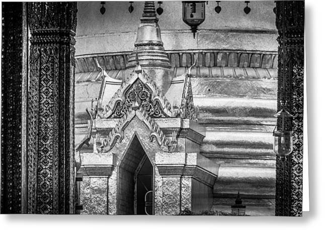 Asien Photographs Greeting Cards - Golden Chedi Phra Siratana Chedi in the Temple of the Emerald Buddha - Bangkok Thailand Greeting Card by Colin Utz