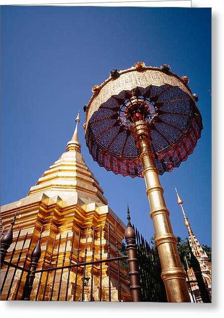 Southeast Asia Greeting Cards - Golden Chedi, Wat Phrathat Doi Suthep Greeting Card by Panoramic Images
