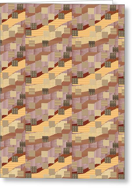 Reprint Greeting Cards - Golden Cheerful Patchwork ART  Greeting Card by Navin Joshi