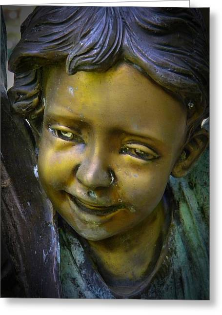 Garden Statuary Greeting Cards - Golden Child Greeting Card by Frank Wilson