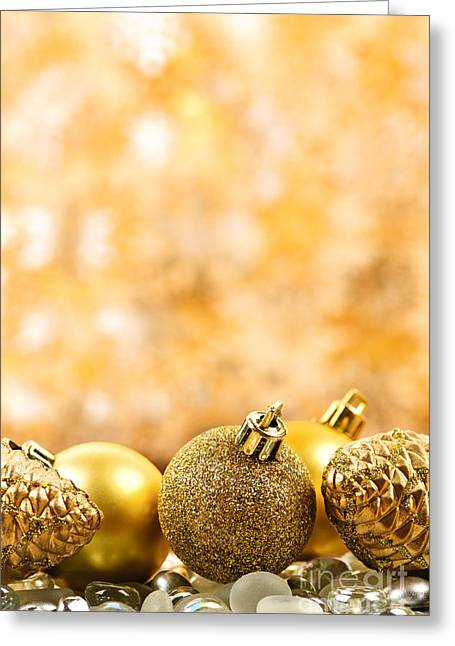 Christmas Ornament Greeting Cards - Golden Christmas  Greeting Card by Elena Elisseeva