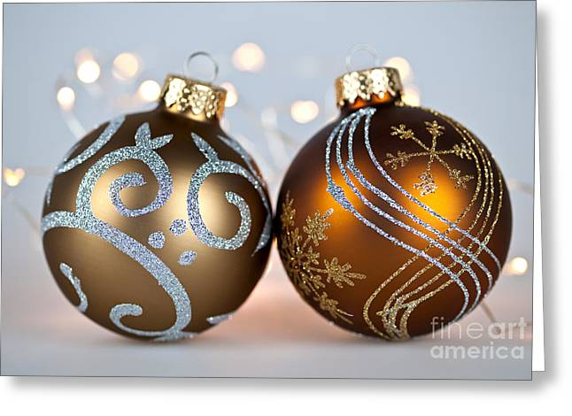 Christmas Ornament Greeting Cards - Golden Christmas ornaments Greeting Card by Elena Elisseeva