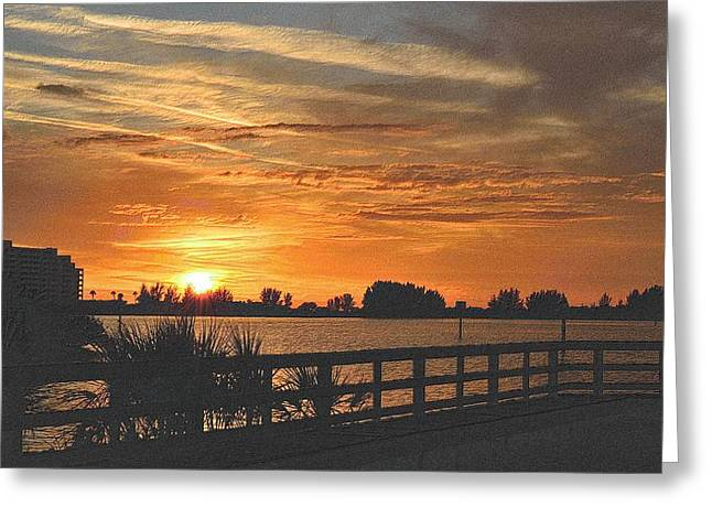 Sunset Framed Prints Drawings Greeting Cards - Golden Christmas Sunset 2 Greeting Card by Richard Zentner