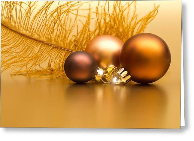 Golden Christmas Greeting Card by Wim Lanclus
