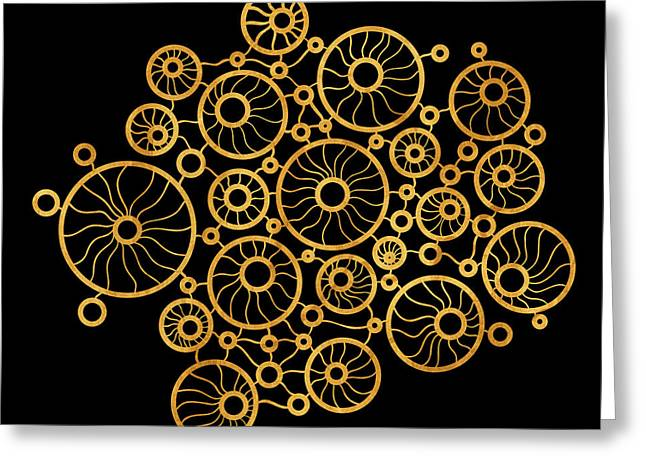 Organic Forms Greeting Cards - Golden Circles Black Greeting Card by Frank Tschakert