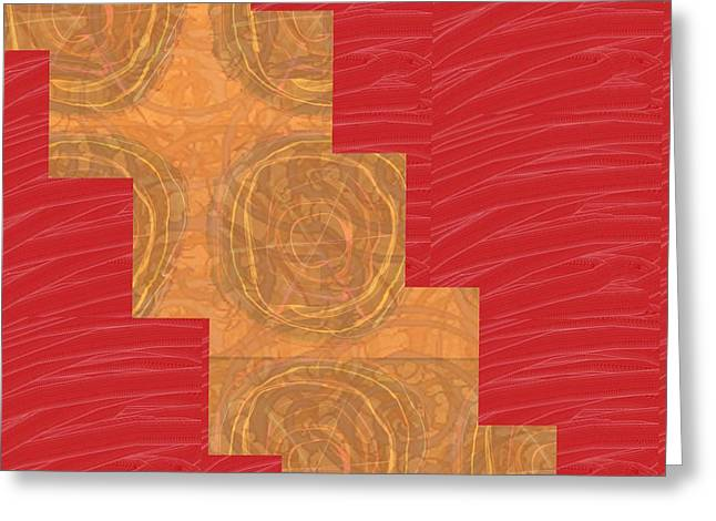 Wife Greeting Cards - GOLDEN Circles Red Sparkle  Greeting Card by Navin Joshi