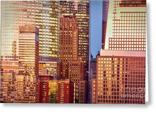Glass Facades Greeting Cards - Golden city Greeting Card by Delphimages Photo Creations