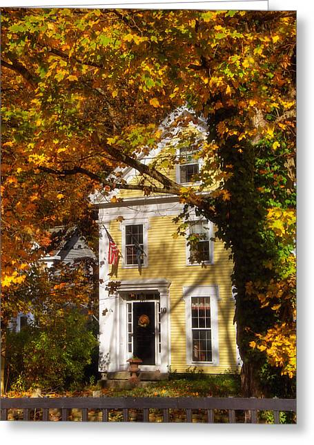 New England Autumn Greeting Cards - Golden Colonial Greeting Card by Joann Vitali