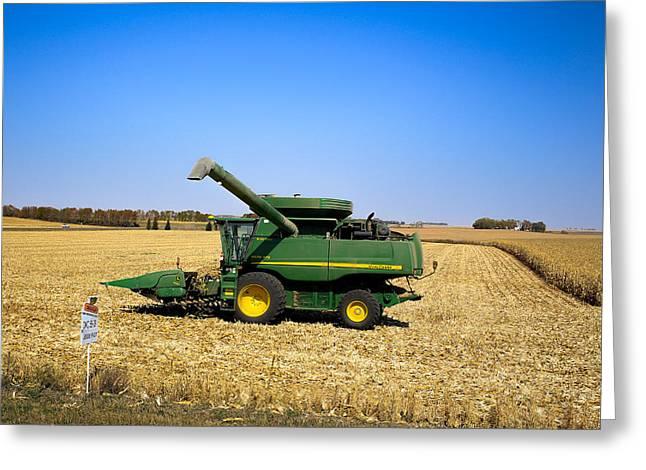 Golden Cornfield With John Deere Combine Greeting Card by Rural America Scenics