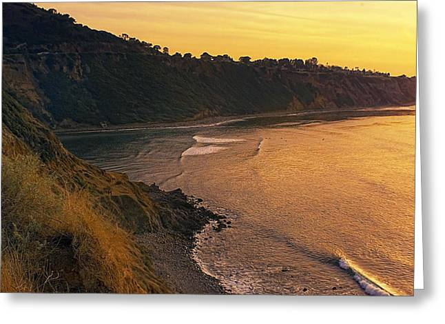 Palos Verdes Cove Greeting Cards - Golden Cove Greeting Card by Ron Regalado