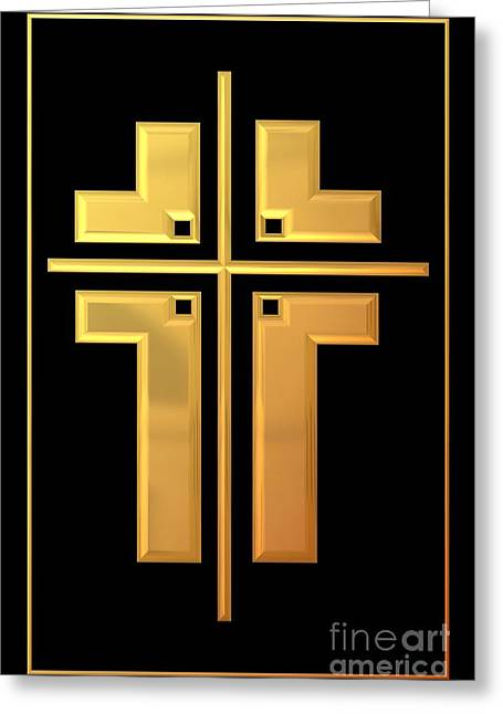 Jesus Crucifixion Framed Prints Greeting Cards - Golden Cross 1 Greeting Card by Rose Santuci-Sofranko