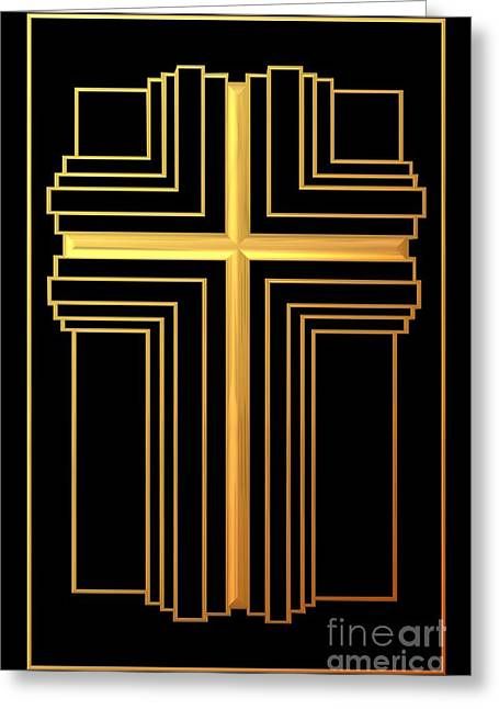 Jesus Crucifixion Framed Prints Greeting Cards - Golden Cross 2 Greeting Card by Rose Santuci-Sofranko