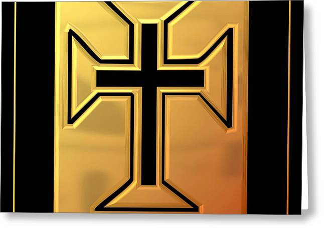 Jesus Crucifixion Framed Prints Greeting Cards - Golden Cross 3 Greeting Card by Rose Santuci-Sofranko