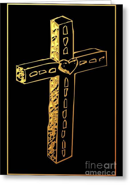 Jesus Crucifixion Framed Prints Greeting Cards - Golden Cross 4 Greeting Card by Rose Santuci-Sofranko