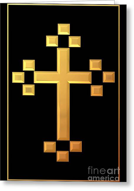 Jesus Crucifixion Framed Prints Greeting Cards - Golden Cross 5 Greeting Card by Rose Santuci-Sofranko