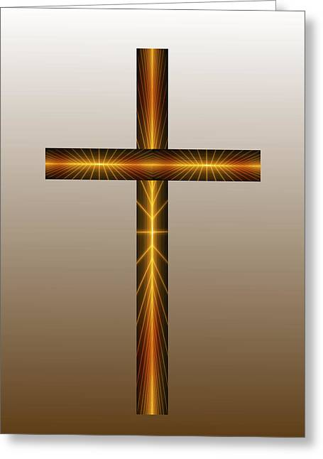 Religious Pictures Digital Art Greeting Cards - Golden Cross Greeting Card by Daniel Madrid