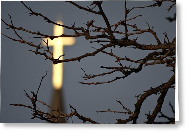 Holy Week Greeting Cards - Golden Cross Greeting Card by David T Wilkinson