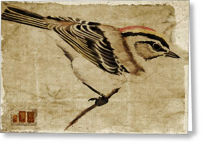Golden-Crowned Kinglet Greeting Card by Carol Leigh