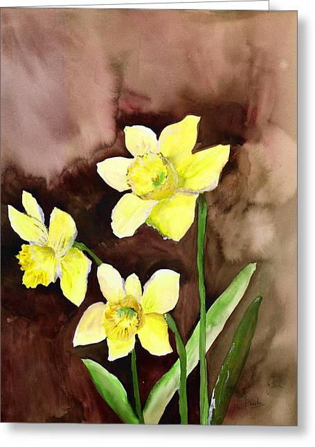 Daffodils Paintings Greeting Cards - Golden Daffodils Greeting Card by Neela Pushparaj