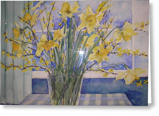 Still Life With Daffodils Greeting Cards - Golden Daffodils Greeting Card by Wendy Head