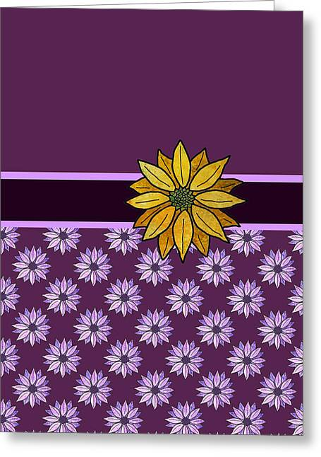 Daisies Mixed Media Greeting Cards - Golden Daisy on Plum Greeting Card by Jenny Armitage