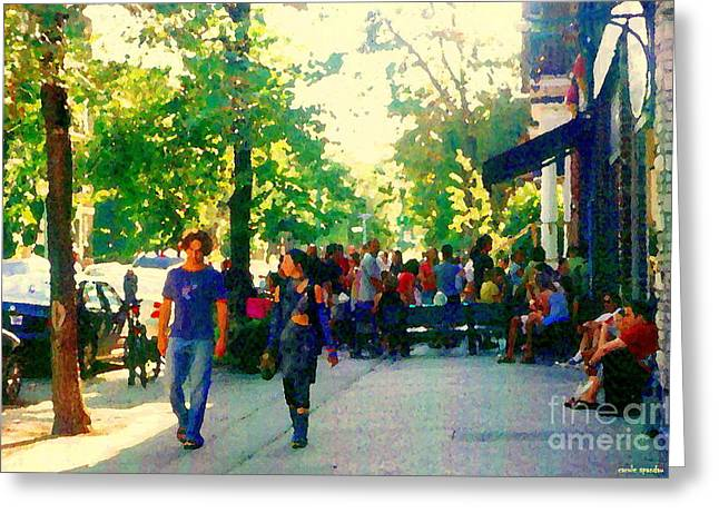 The Plateaus Paintings Greeting Cards - Golden Day The Air Sublime Young Couple Stroll By Sunlit Trees Montreal Painting City Scene Art  Greeting Card by Carole Spandau