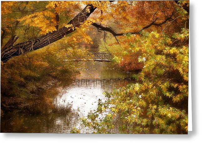 Autumn Landscape Digital Greeting Cards - Golden Days Greeting Card by Jessica Jenney