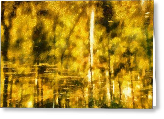 Colors Of Autumn Paintings Greeting Cards - Golden Days Of Autumn Greeting Card by Dan Sproul