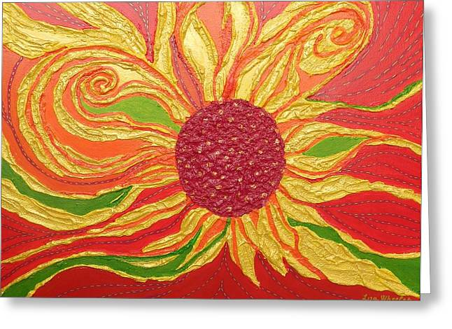 Textured Floral Reliefs Greeting Cards - Golden Days of Summer Greeting Card by Liza Wheeler
