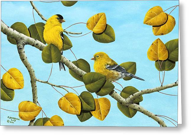 American Goldfinch Greeting Cards - Golden Days Greeting Card by Rick Bainbridge