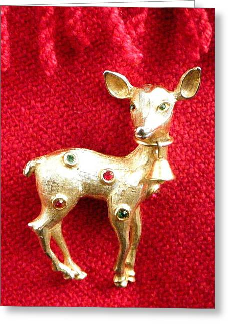 Illustration Jewelry Greeting Cards - Golden Doe Broach 2 Greeting Card by Bruce Iorio