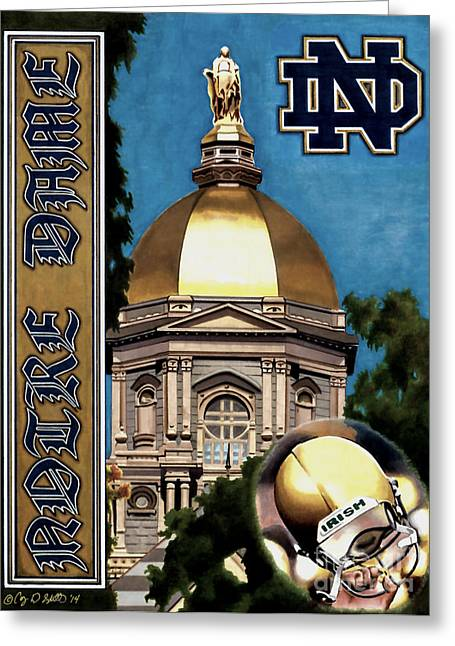 College Drawings Greeting Cards - Golden Dome Greeting Card by Cory Still