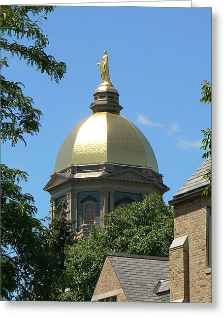 Domes Mixed Media Greeting Cards - Golden Dome Notre Dame Greeting Card by Connie Dye