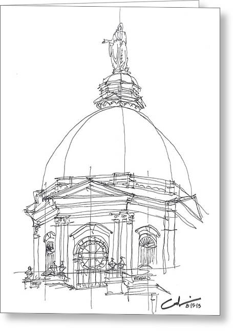 Universities Drawings Greeting Cards - Golden Dome Sketch Greeting Card by Calvin Durham