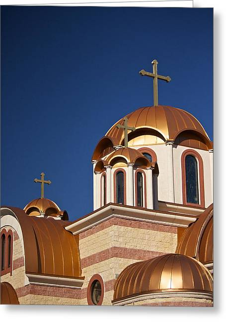 Golden Domes Of St. Sava Church Greeting Card by Amazing Jules