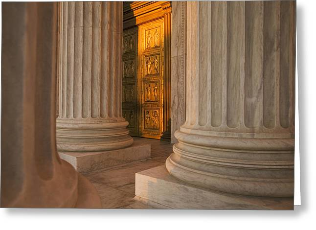 Entrance Door Greeting Cards - Golden Doors And Columns Of The United Greeting Card by Tips Images