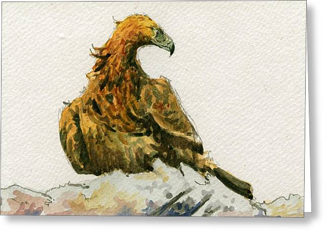 Nocturnal Paintings Greeting Cards - Golden Eagle Aquila chrysaetos Greeting Card by Juan  Bosco