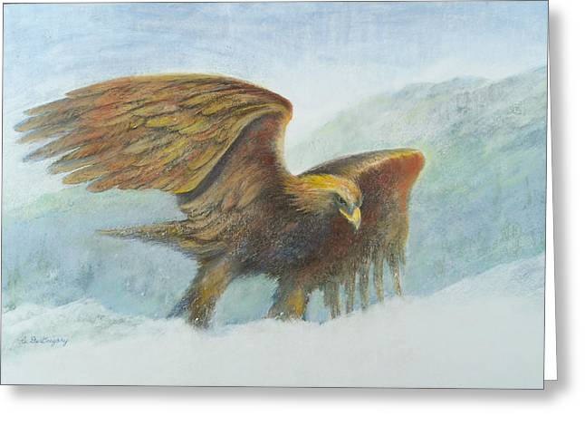 Eagles Pastels Greeting Cards - Golden Eagle In The Snow Greeting Card by Carol DeGregory