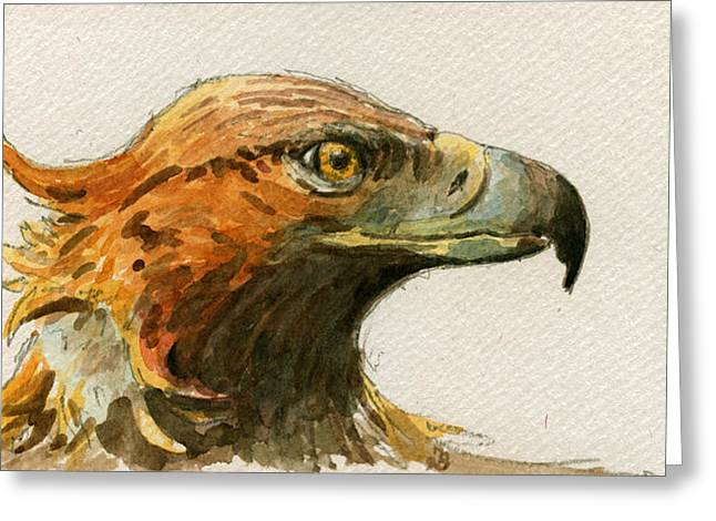 Nocturnal Paintings Greeting Cards - Golden eagle Greeting Card by Juan  Bosco