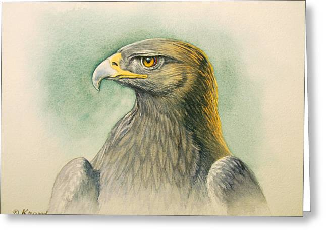 Wildlife Greeting Cards - Golden Eagle Portrait Greeting Card by Paul Krapf