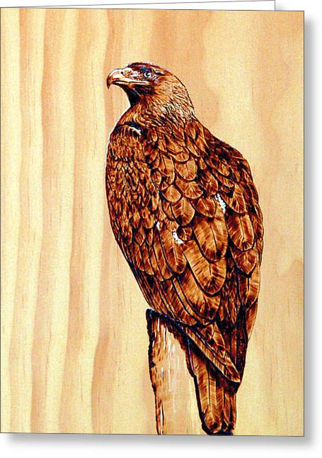 Feather Pyrography Greeting Cards - Golden Eagle Greeting Card by Ron Haist