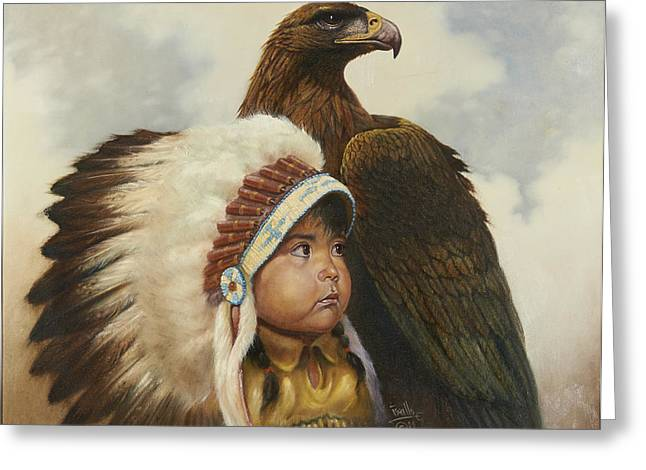 Unity Digital Art Greeting Cards - Golden Eagles Greeting Card by Gregory Perillo