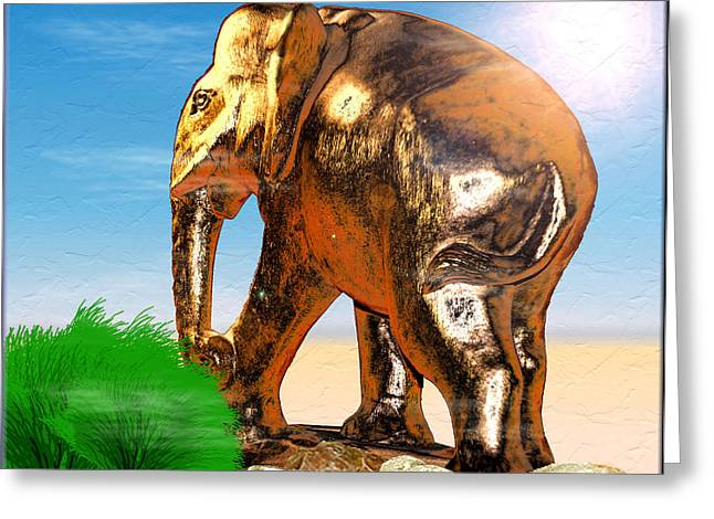 Wooden Sculpture Digital Greeting Cards - Golden Elephant Greeting Card by Daniel Janda