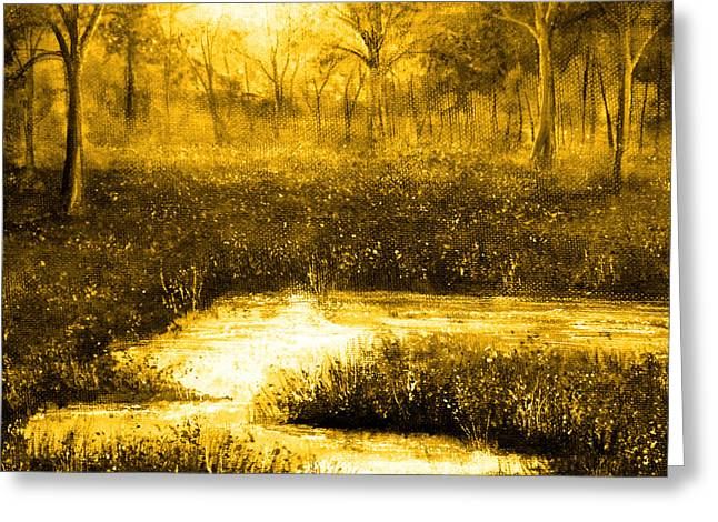 Kinkade Greeting Cards - Golden Evening Greeting Card by Ann Marie Bone