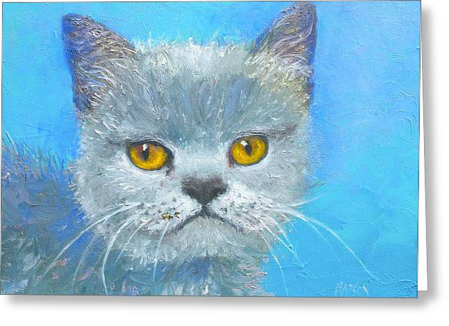 Photos Of Cats Paintings Greeting Cards - Golden Eyes Cat Greeting Card by Jan Matson