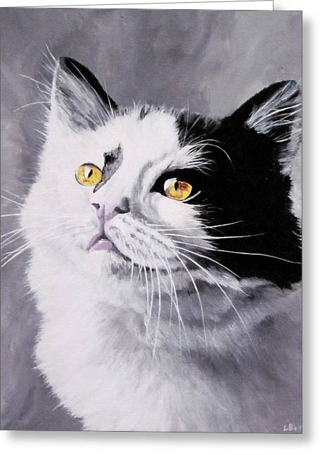 White Paintings Greeting Cards - Golden eyes Greeting Card by Lillian  Bell