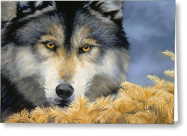 Wolf Greeting Cards - Golden Eyes Greeting Card by Lucie Bilodeau