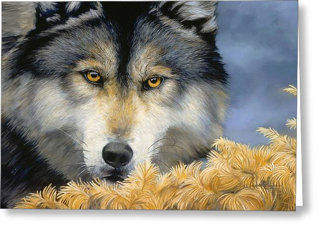 Golden Eyes Greeting Card by Lucie Bilodeau